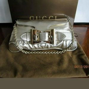 GUCCI🌘AUTHENTIC CHAMPAGNE LEATHER QUEEN PURSE